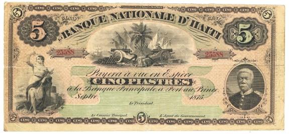 haiti 1870s 1875 bank note five piastre